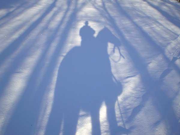 Efecto claroscuro de las sombras sobre la nieve